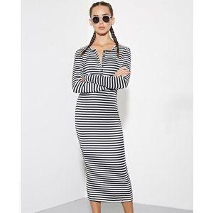 Stripped Midi Dress Lazy Moon Striped Henley